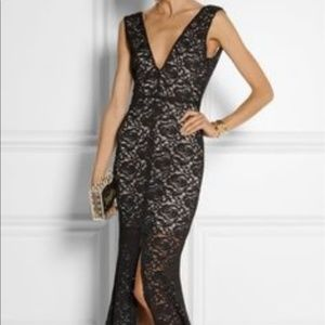 Alice + Olive Black Lace Evening Gown